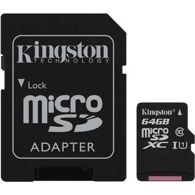 Thẻ Nhớ Kingston Canvas Select 64GB microSHXC UHS-I Class 10 + SD Adapter (SDCS/64GB)
